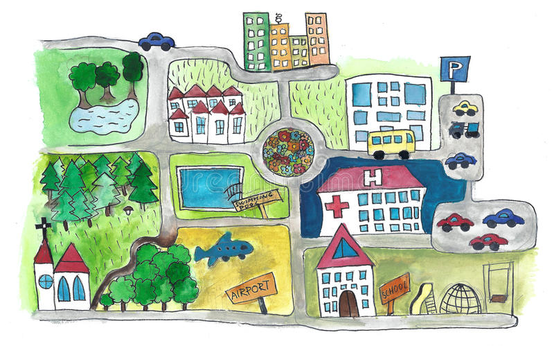 Map. Hand illustrated cartoon map of a town