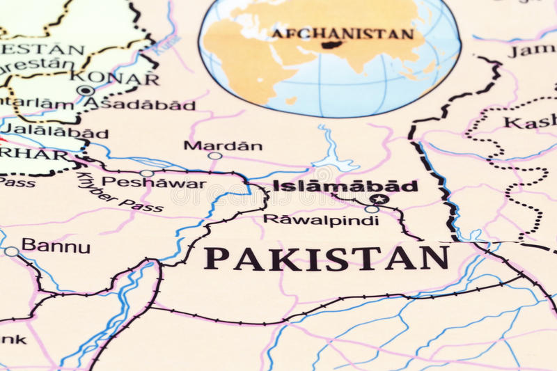 Map. Pakistan and Afghanistan military map with capitol royalty free stock photography