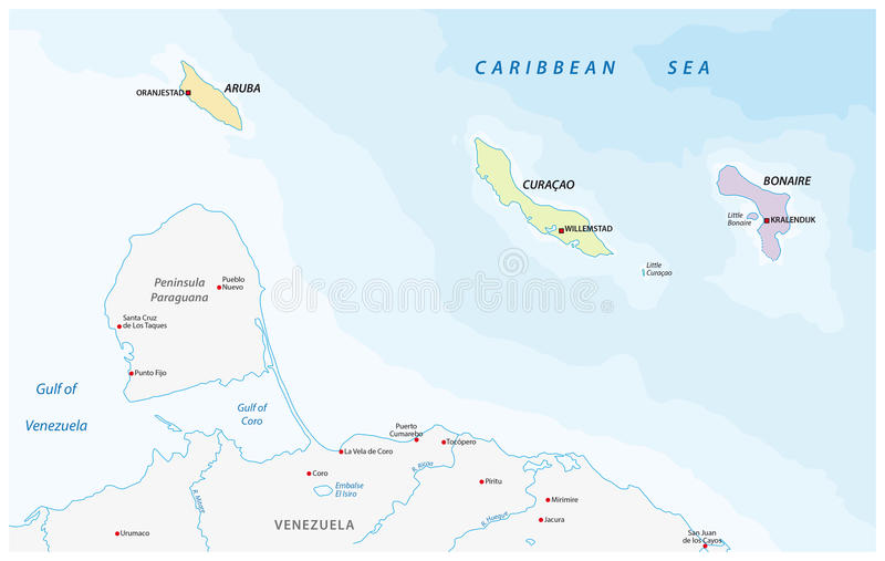 Map Of The ABC Islands In The Caribbean Sea Stock Illustration
