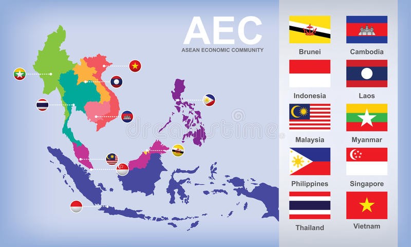 Map of AEC Asean Economic Community stock images