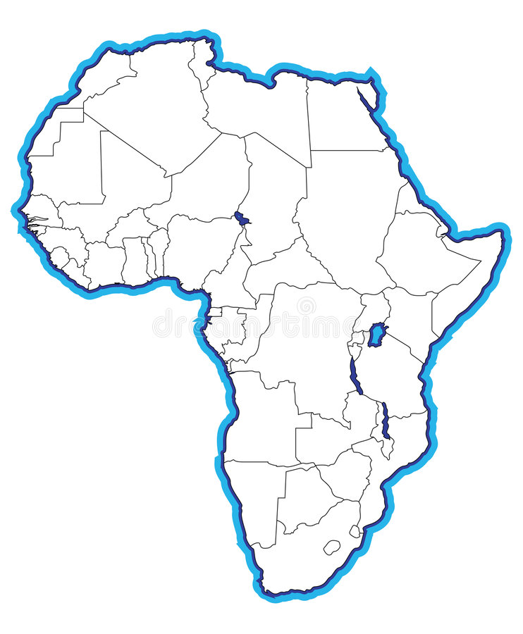 Map of Africa. An illustrated map with the outline of the continent of Africa marked in blue and gray lines indicating the size and location of all the countries