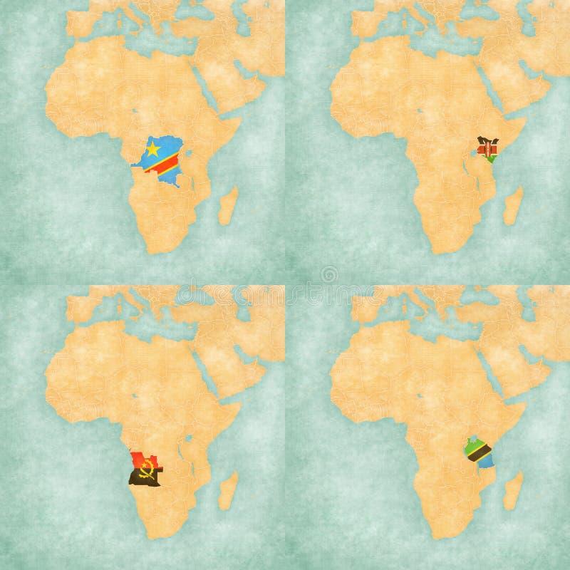 Map Of Africa DR Congo Kenya Angola And Tanzania Stock - Tanzania map download