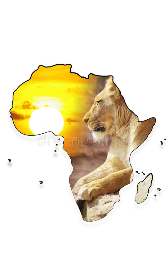 Map of Africa with lioness and sundown stock image