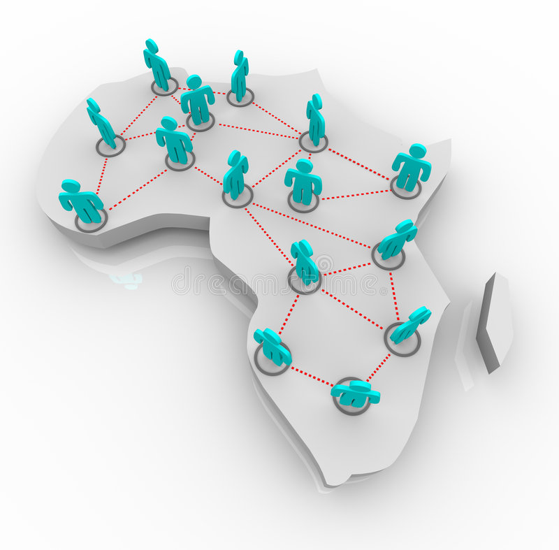 Map of Africa - Network of People. A map of Africa on white with a network of people standing atop it royalty free illustration