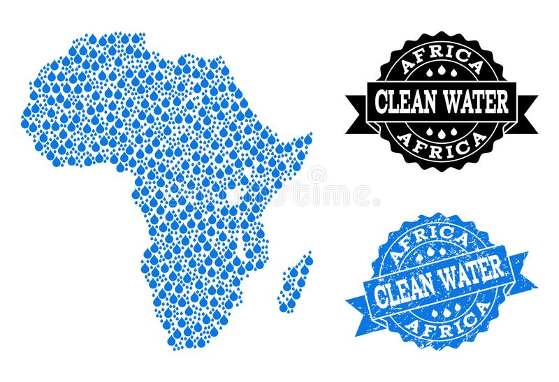 Mosaic Map of Africa with Water Tears and Grunge Stamp Seal vector illustration
