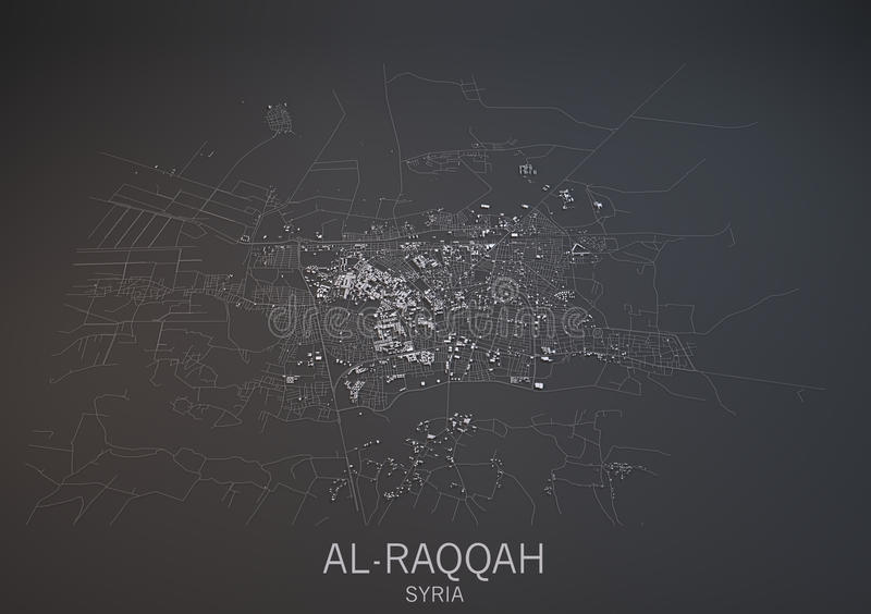 Map Of AlRaqqah Syria Satellite View Stock Illustration