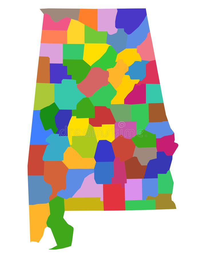Map of Alabama. Detailed and accurate illustration of map of Alabama vector illustration