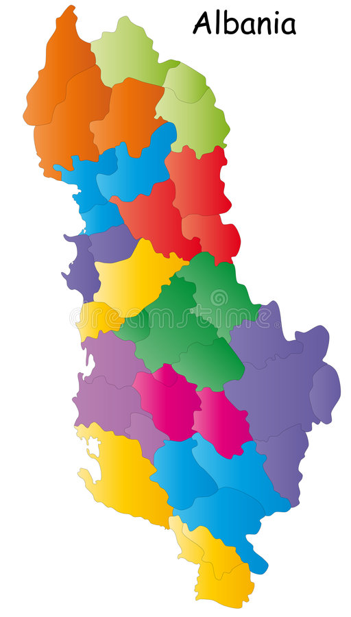 Map of Albania. With regions in different colors, white background vector illustration