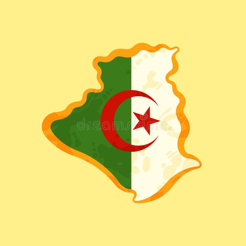 Algeria - Map colored with Algerian flag royalty free illustration