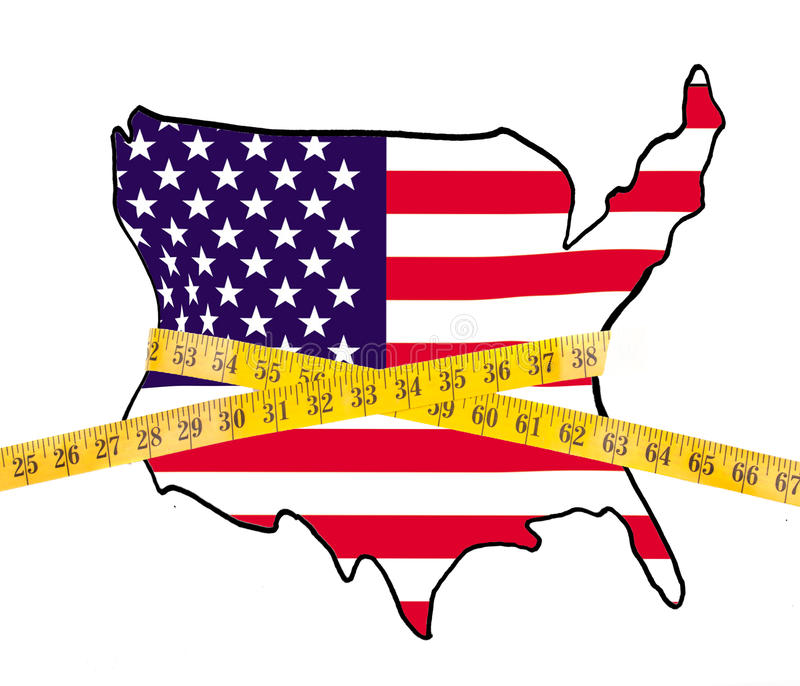 Map of America on a diet, with measuring tape stock images