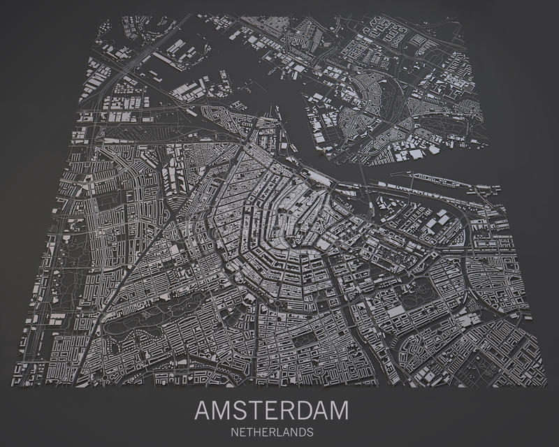 Map of Amsterdam, satellite view, map in negative, Netherlands stock illustration