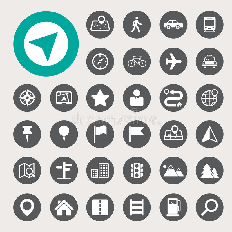 Free Map And Location Icons Set Stock Photo - 37517760