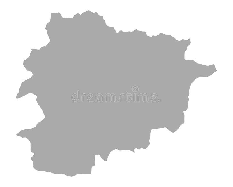 Map of Andorra. Detailed and accurate illustration of map of Andorra royalty free illustration