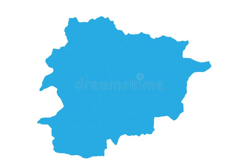 Map of andorra. High detailed vector map - andorra. Map shape/contour/outline/border with state isolate on white background stock illustration