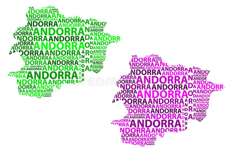 Map of Andorra - vector illustration. Sketch Andorra letter text map, Andorra - in the shape of the continent, Map of Principality of the Valleys of Andorra royalty free illustration