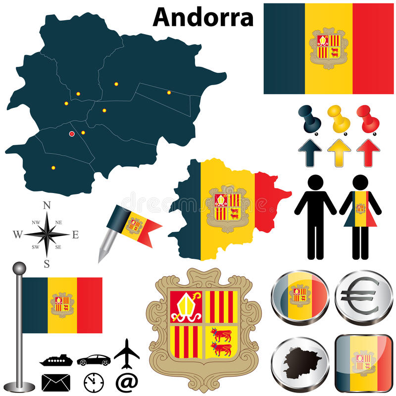 Map of Andorra. Vector of Andorra set with detailed country shape with region borders, flags and icons stock illustration