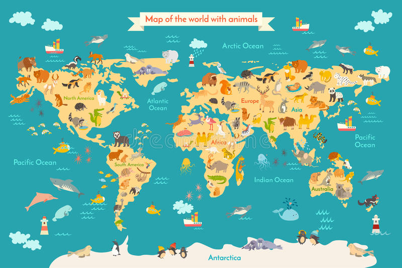 Map Animal For Kid Stock Vector Image Of Cute Europe - Map of europe for children