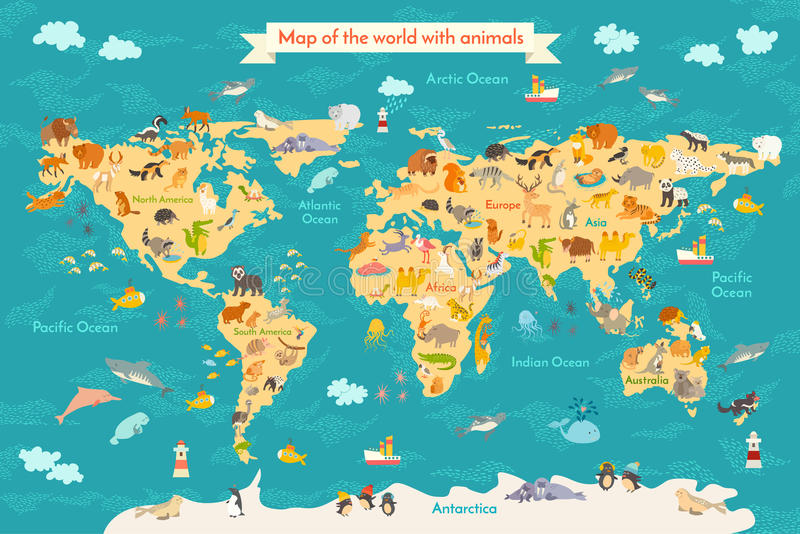Map animal for kid stock vector illustration of continents 88461358 preschool cartoon globe with animals oceans and continent south americaeurasianorth americaafrica australiaby world map gumiabroncs