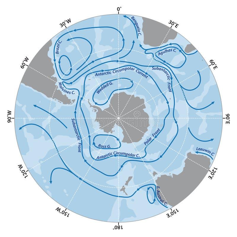 Map of the Antarctic Circumpolar Current. Vector map of the Antarctic Circumpolar Current vector illustration