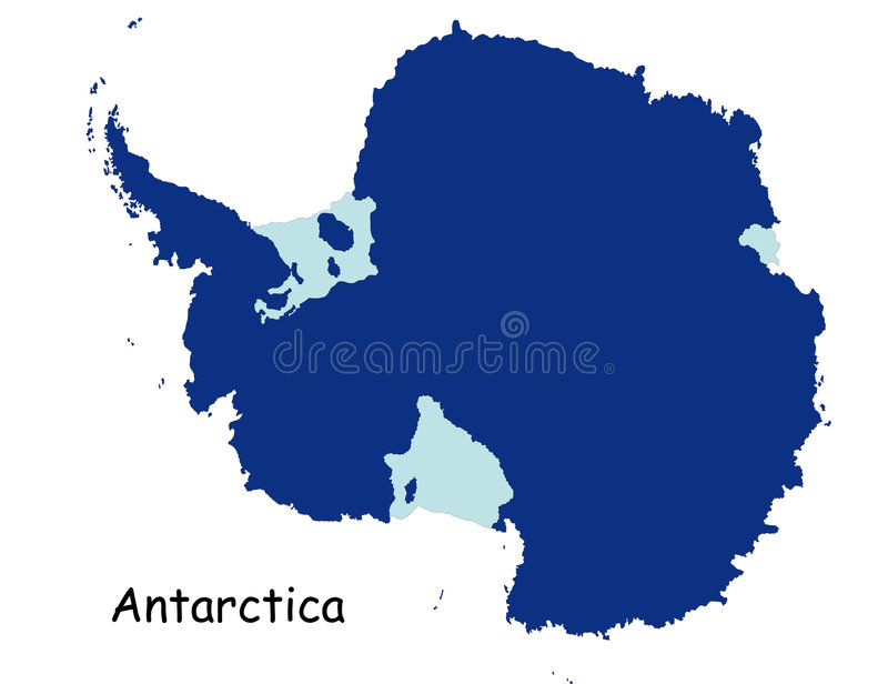 Map of Antarctica. Vector Antarctica map designed in illustration stock illustration