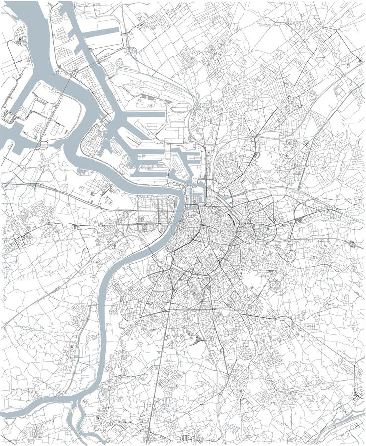 Map of Antwerp, satellite view, black and white map. Belgium vector illustration