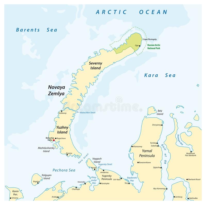 Map of the archipelago Nova Zemlya in the Arctic Ocean in northern Russia.  stock illustration