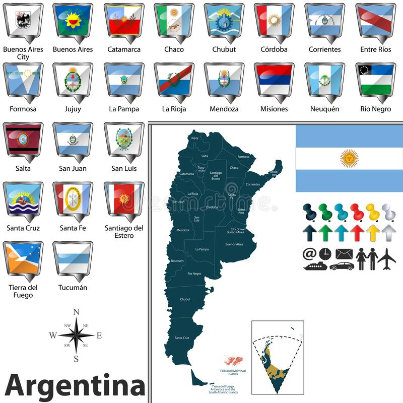 Map of Argentina with flags. Vector map of Argentina with regions and flags of states stock illustration