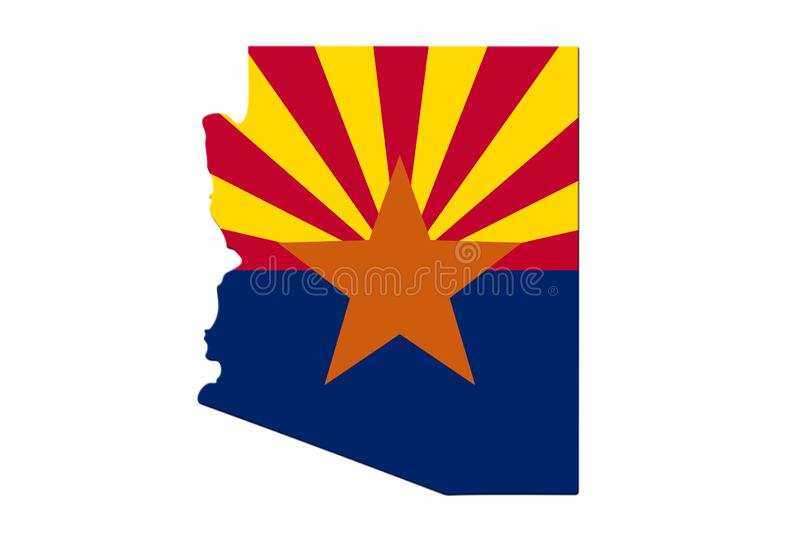 Map of Arizona in the Arizona flag colors. Isolated over white stock photo