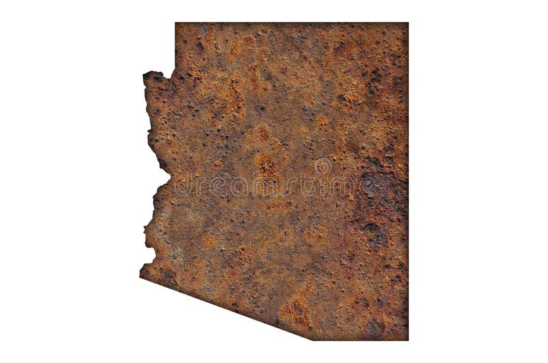Map of Arizona on rusty metal. Detailed and colorful image of map of Arizona on rusty metal stock image