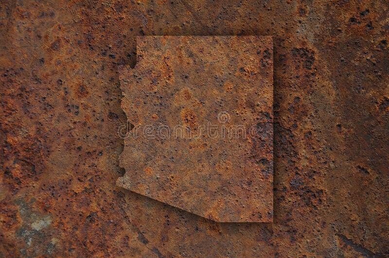 Map of Arizona on rusty metal. Detailed and colorful image of map of Arizona on rusty metal royalty free stock photography
