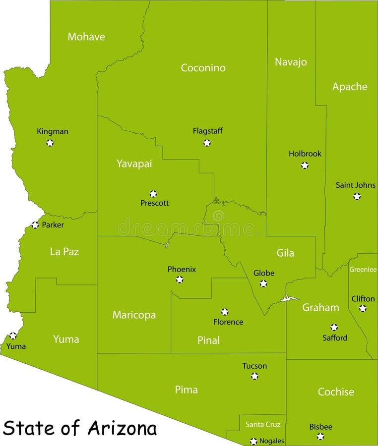 Download Map of Arizona state stock vector. Illustration of illustration - 9508216
