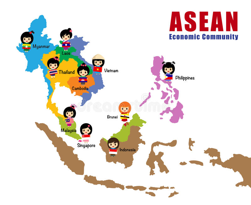 Map of Asean - AEC royalty free illustration