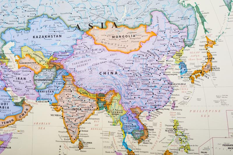 Map Of S Asia.Map Of Asia Stock Photo Image Of Country Aged Continental 127739794