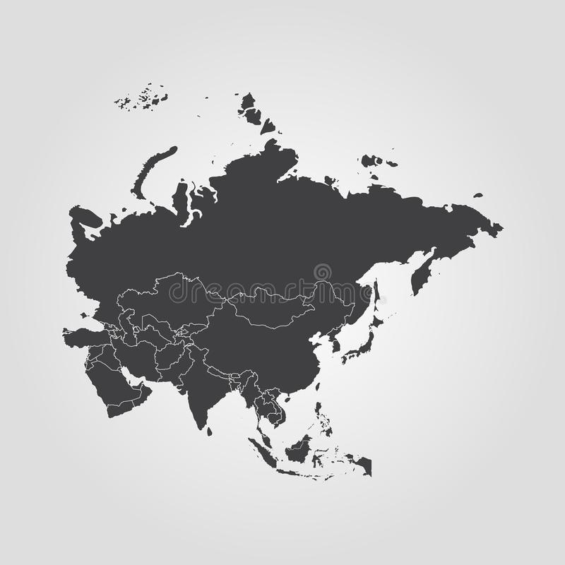 Map of Asia. Vector illustration. World map stock illustration