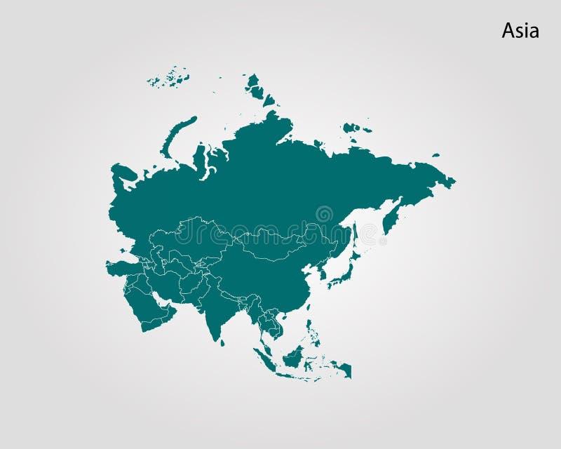 Map of Asia. Vector illustration. World map stock illustration