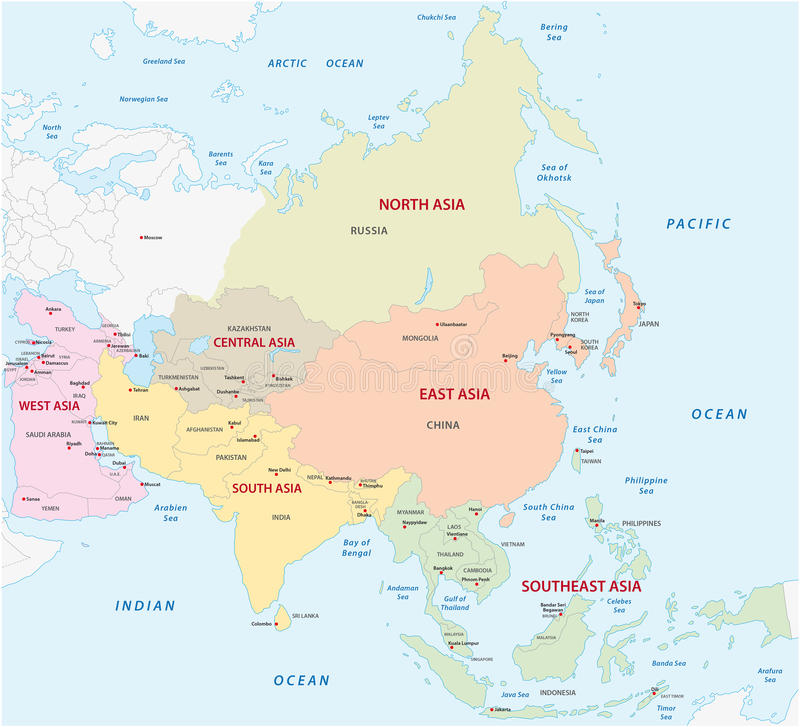 Map of the asian sub-regions. Vector map of the asian sub-regions royalty free illustration