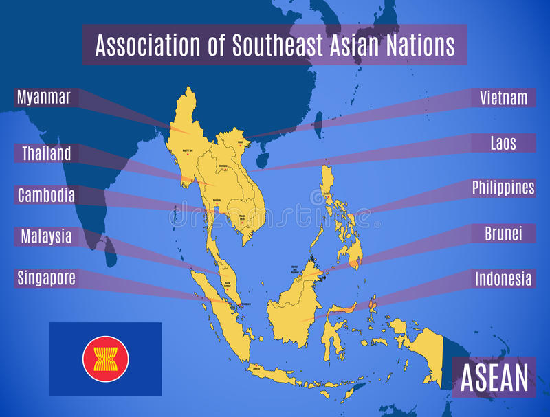 Map of Association of Southeast Asian Nations ASEAN. Schematic map of the country members of Association of Southeast Asian Nations ASEAN stock illustration