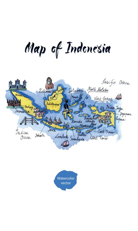 Map of attractions of Indonesia, watercolor hand drawn, vector illustration stock illustration