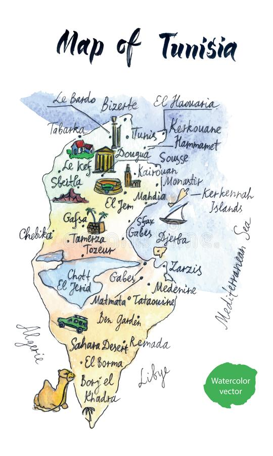 Map Of Attractions Of Tunisia Watercolor Hand Drawn Vector