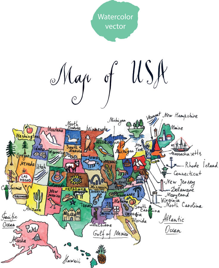 Map of attractions of United States of America. Watercolor, hand drawn - vector Illustration stock illustration
