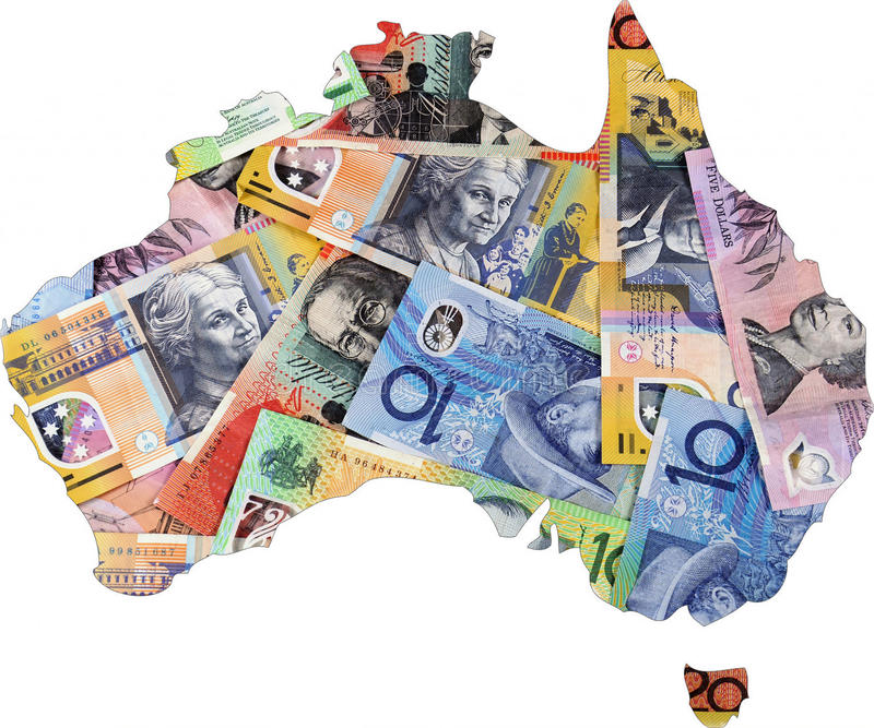 Map of Australia with Australian money. Map of Australia with Australian money dollar notes royalty free stock photos