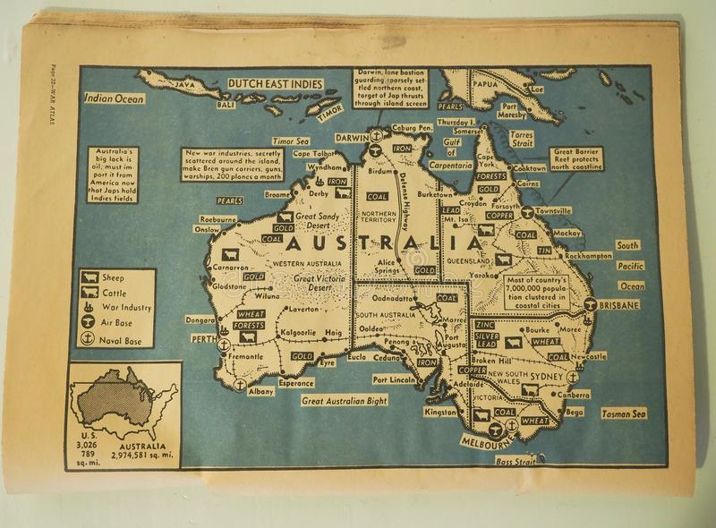 Map of Australia with Farming, Ranching, Mining and Forests stock image