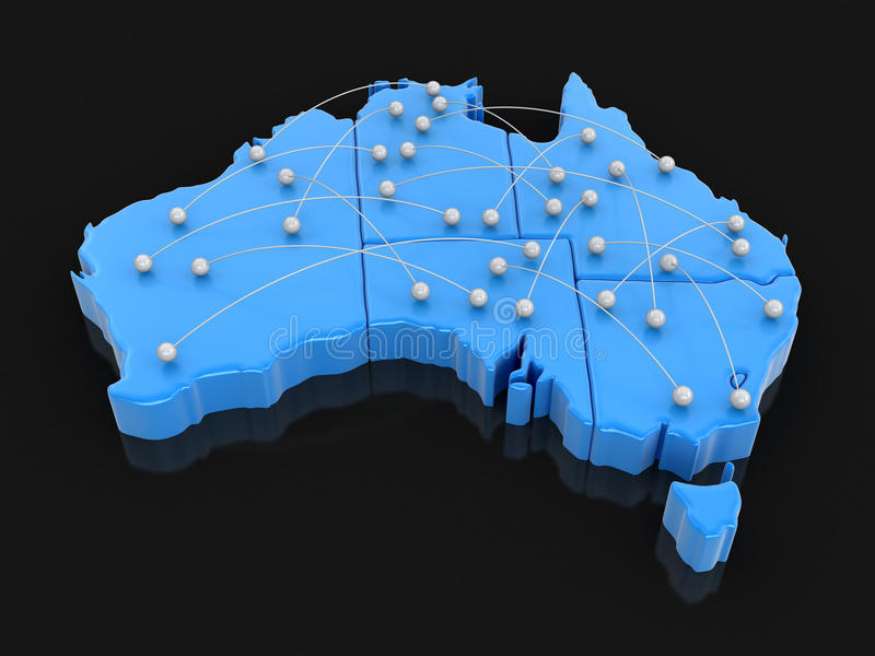 Map of Australia with flight paths. Image with clipping path stock illustration
