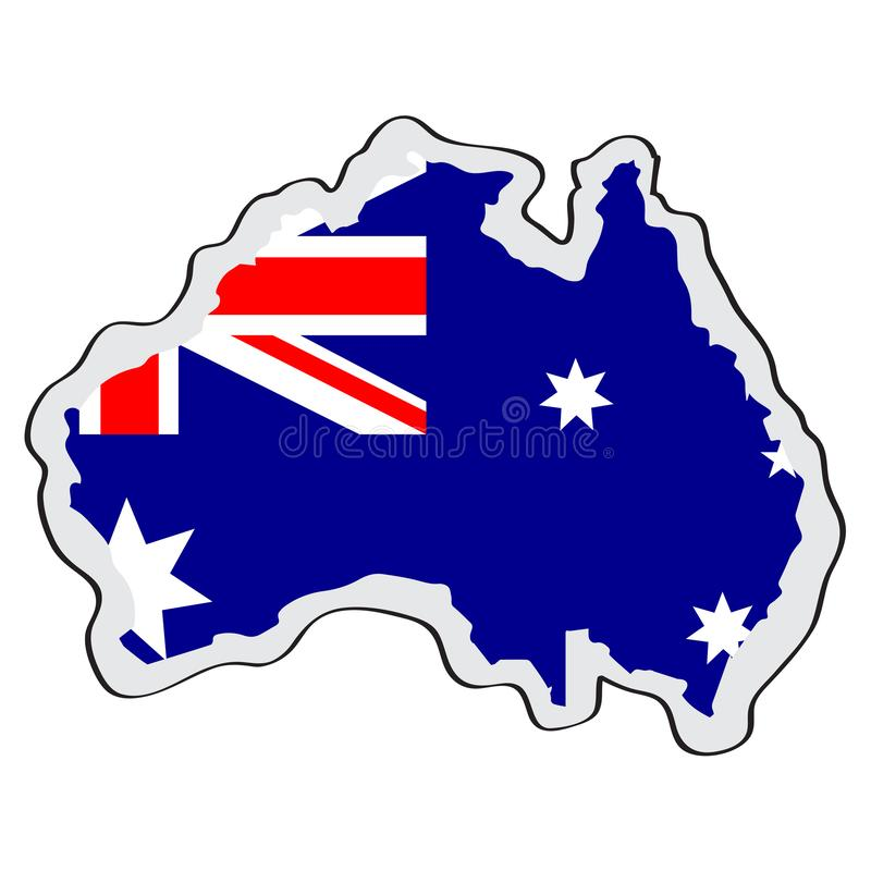 Map of Australia with its flag stock illustration