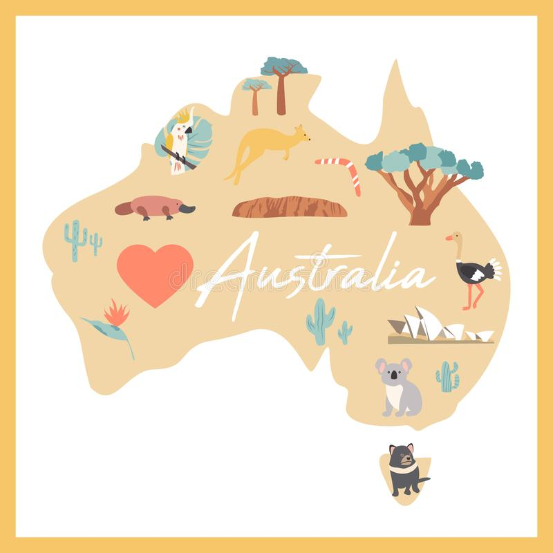 download map of australia with landmarks and wildlife stock illustration illustration of desert fauna