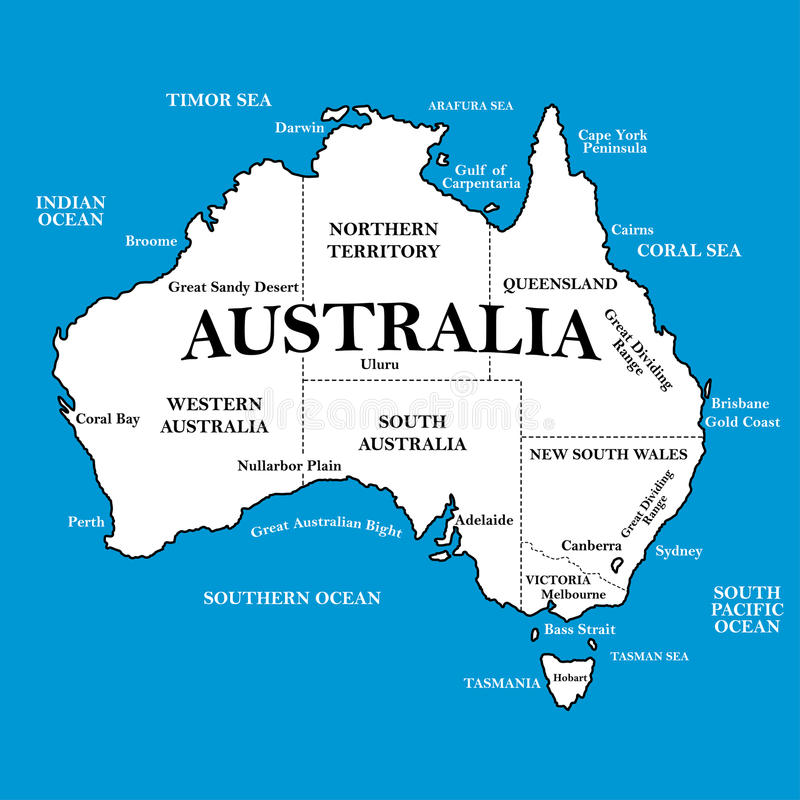 Map of Australia with locations on a blue background stock illustration