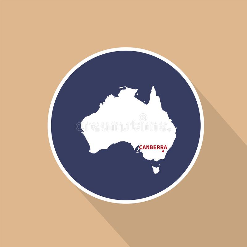 Map of Australia with the name of the capital. Vector illustrati. stock illustration