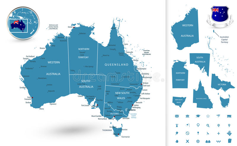Map of Australia with regions. All elements are separated in editable layers clearly labeled royalty free illustration