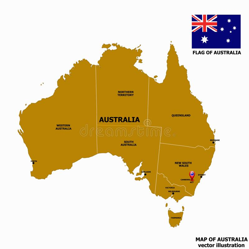 Map of Australia. Vector. stock illustration