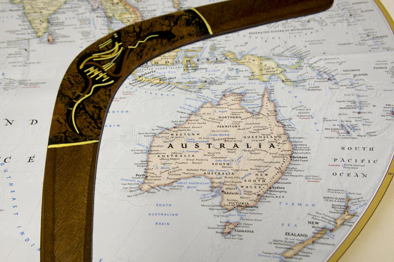 Download Map Of Australia With Wooden Boomerang Stock Image - Image of tourist, australia: 90754963